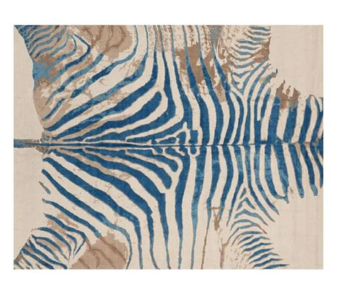 printed zebra rug blue pottery barn