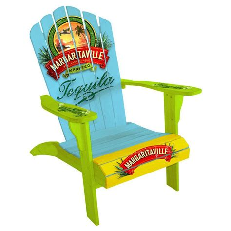 margaritaville outdoor wood side table in blue margaritaville quot vintage tequila quot adirondack chair