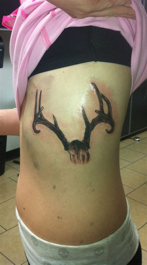 antlers tattoo my deer antler done by joel at happily