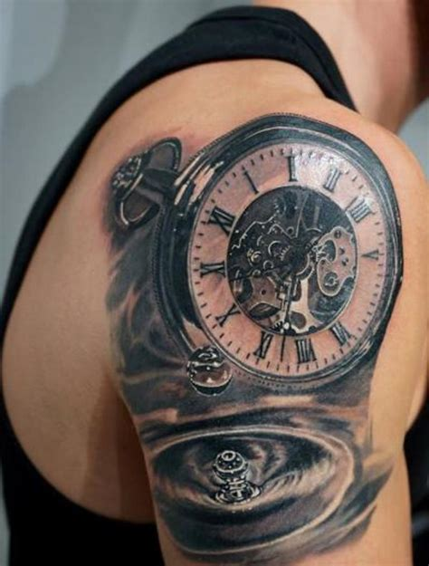 realistic tattoo design 61 stunning clock shoulder tattoos