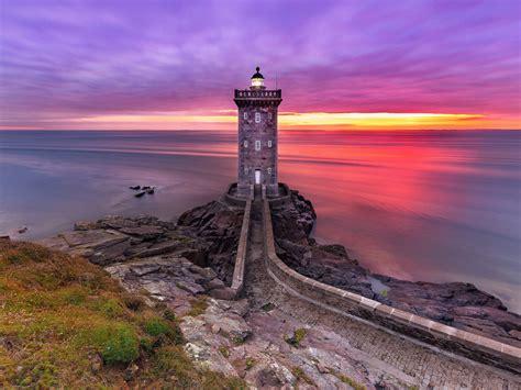 kermorvan lighthouse coastline atlantic ocean brittany