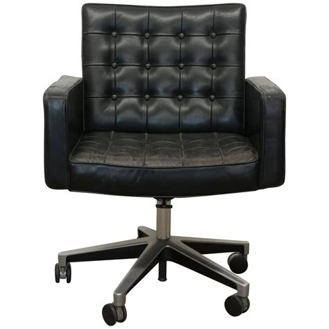 Vintage Vincent Cafiero For Knoll Black Leather Swivel Leather Desk Chairs Swivel