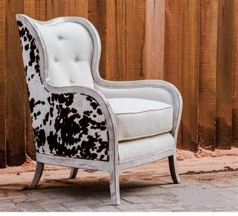 cowhide armchairs transitional cowhide wingback arm chair cow hide off white rustic fur