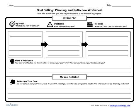 thematic goal exle worksheets academic goal setting worksheet
