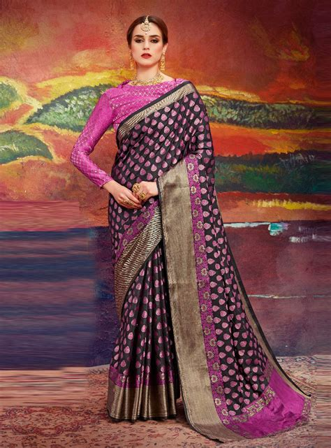 Indian Blouse Navy navy blue silk saree with blouse 127914