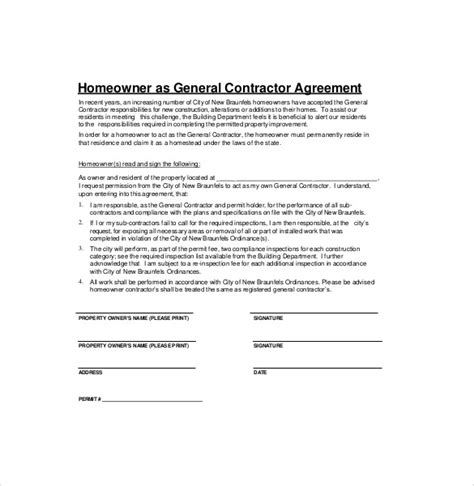 general contractors contract template contractor agreement template 18 free word pdf