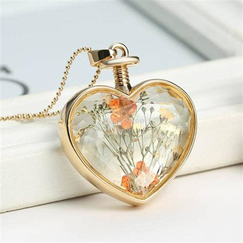 clear glass pendants for jewelry fashion clear glass floating dried flower locket