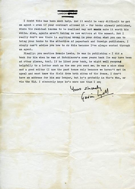 Letter Rowland Existential Ennui A Signed Letter By Thriller Writer Gavin Lyall To Author Rowland On