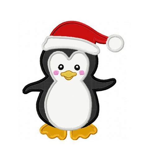 christmas penguin applique machine embroidery design no 0094