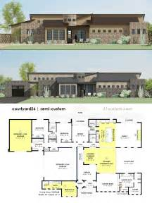 custom design house plans contemporary side courtyard house plan 61custom