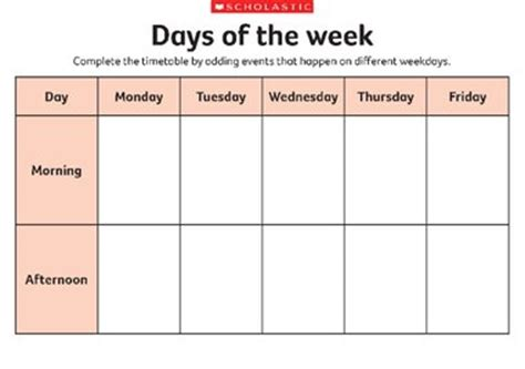 different days of week days of the week early years teaching resource scholastic