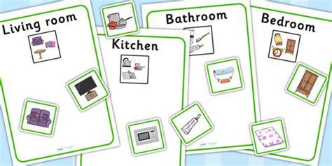 living room bedroom bathroom kitchen kitchen bedroom bathroom and living room sorting activity