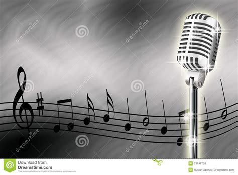 imagenes con videos musicales microfoon en muzieknoten stock illustratie afbeelding