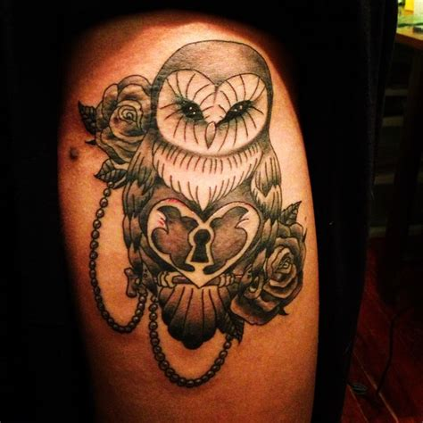owl and rose tattoo owl roses pearls lock and key thigh