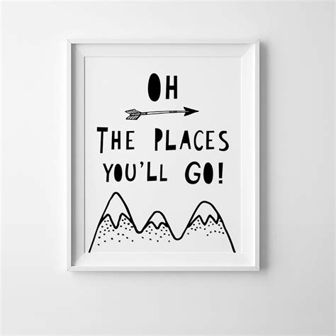 oh the places you ll go monochrome wall art poster a3
