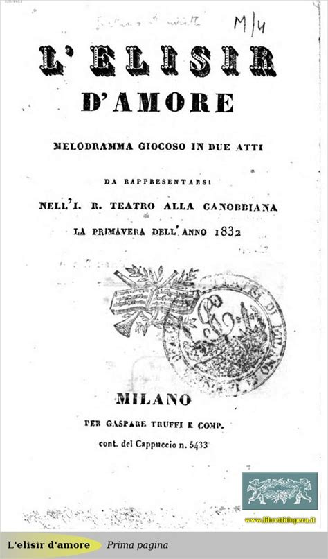 testo elisir d l elisir d 1832 immagine