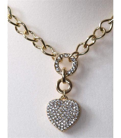 Modeschmuck Ketten by Damen Modeschmuck Halskette Strass Herz Gold