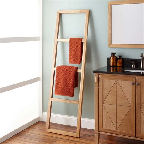 stokes teak ladder towel rack bathroom
