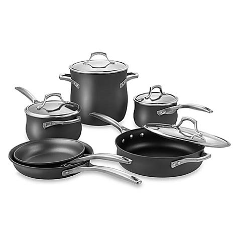 bed bath and beyond pots and pans calphalon 174 unison nonstick 10 piece set cookware bed