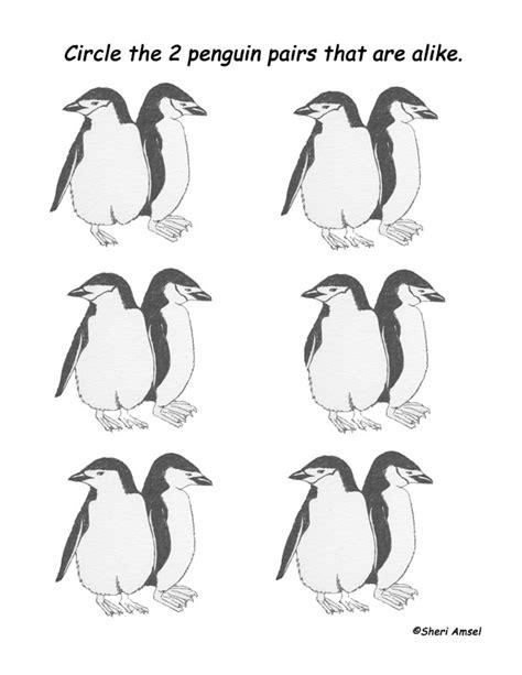 printable observation games matching penguins observation activity more challenging