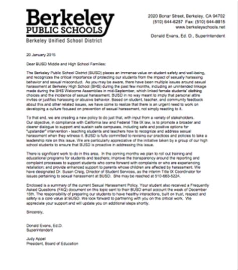 Harassment Response Letter Feds Launch Civil Rights Investigation Into Berkeley School District S Response To Sexual