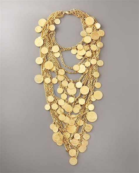 robert rodriguez jewelry lyst robert rodriguez multi strand coin necklace in metallic