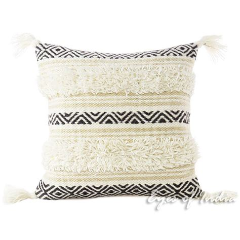 white sofa with colorful pillows white black colorful embroidered woven fringe pillow