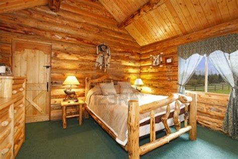 log cabin bedroom with antique wood idea