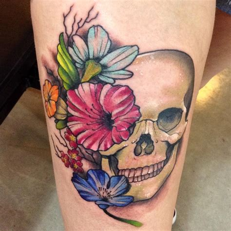 skull with flowers tattoo human skull with flowers by kyle grover tattoonow