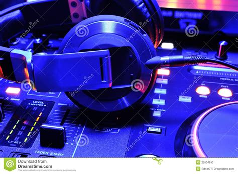 House Map Maker dj headphones on the mixer console stock photo image