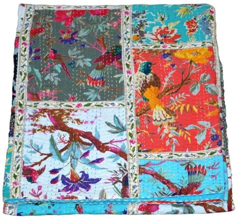 Indian Patchwork Quilt - indian patchwork handmade quilt vintage kantha bedspread
