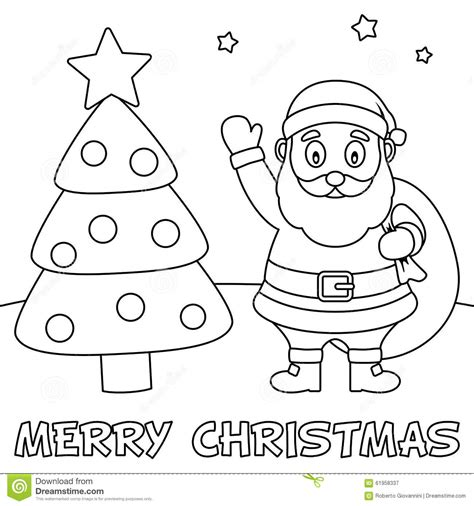 coloring pages for christmas time coloring christmas card with santa claus stock vector
