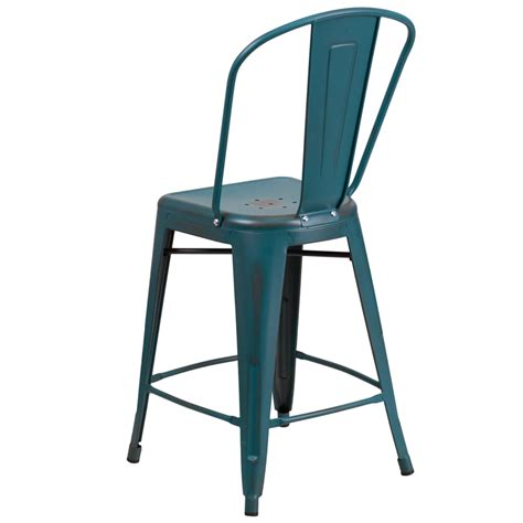 teal bar stools with backs 24 high distressed blue teal metal indoor outdoor