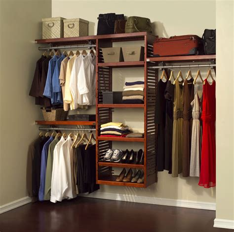 Wooden Closet System by Louis Home Mahogany Wood Closet Organizer System