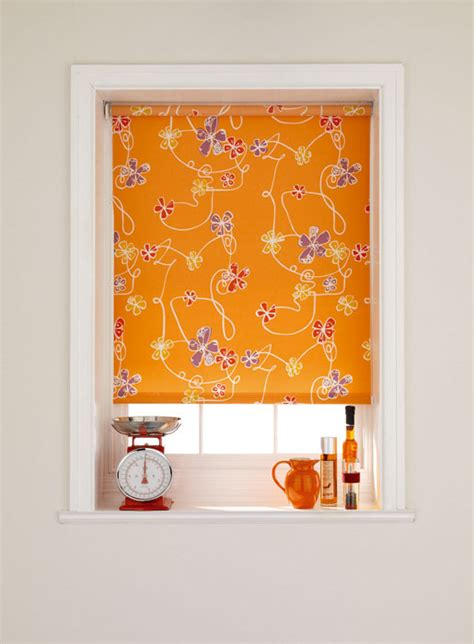 orange patterned roller blind bruce blinds millie orange roller blinds