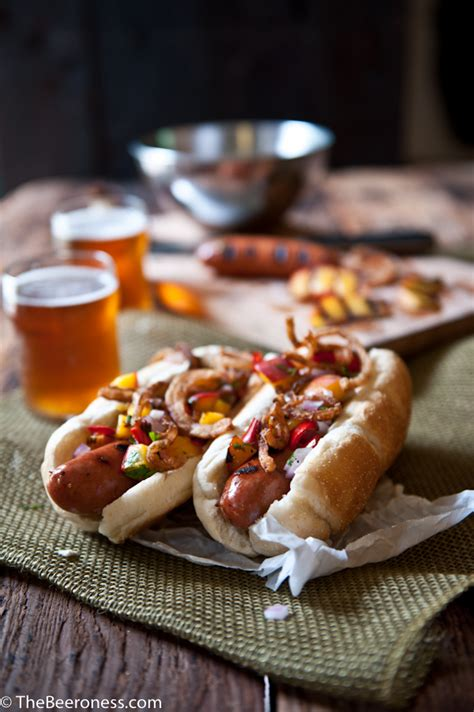 brat hot dog beer brat dogs with grilled peach salsa and fried onions