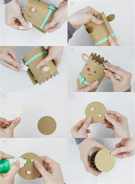 How To Make A Big Gift Box Out Of Paper - sparkle the reindeer cylinder gift box assembly