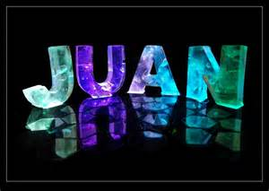 the name juan in 3d coloured lights
