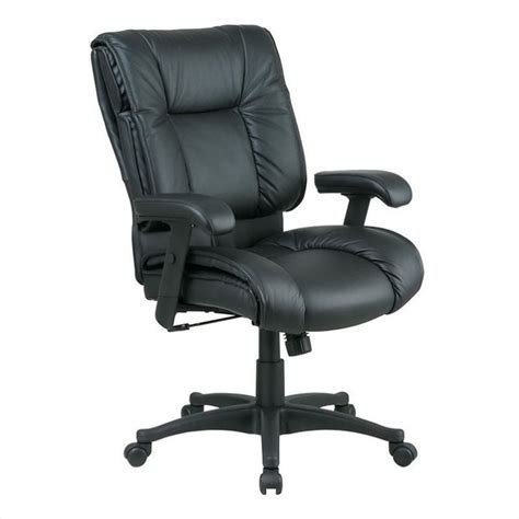 Office Chair Pillow by Deluxe Mid Back Leather Office Chair With Pillow Top Seat