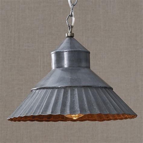 Galvanized Pendant Light Fixture Galvanized Crimp Pendant Light