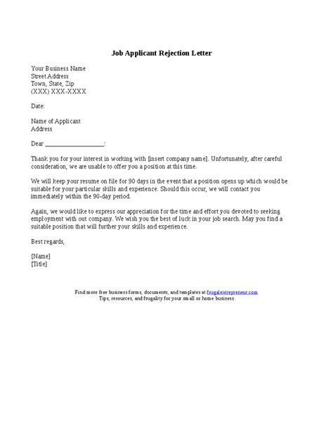 Employment Letter Rejection Sle Applicant Rejection Letter Hashdoc