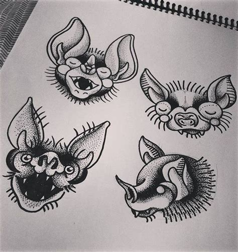 tattoo old school dotwork cute dotwork old school style bat heads tattoo design