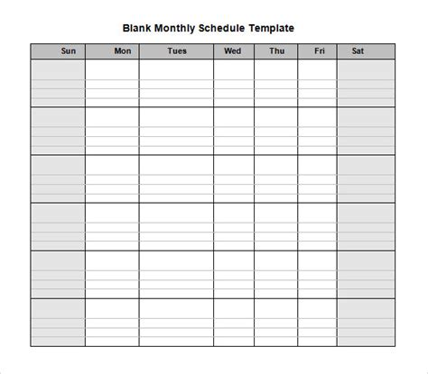 monthly time schedule template blank schedule template 6 free documents in pdf