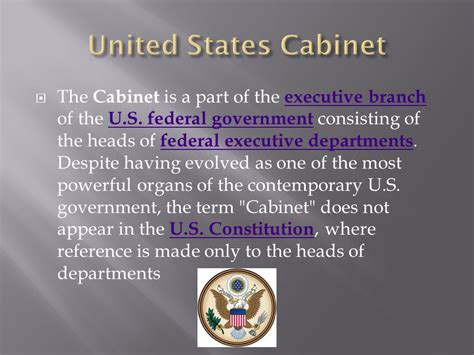 cabinet of the united states the presidency and the executive branch ppt