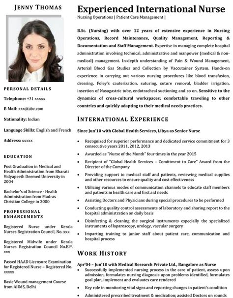 cv format nurse nurse cv format nurse resume sle and template