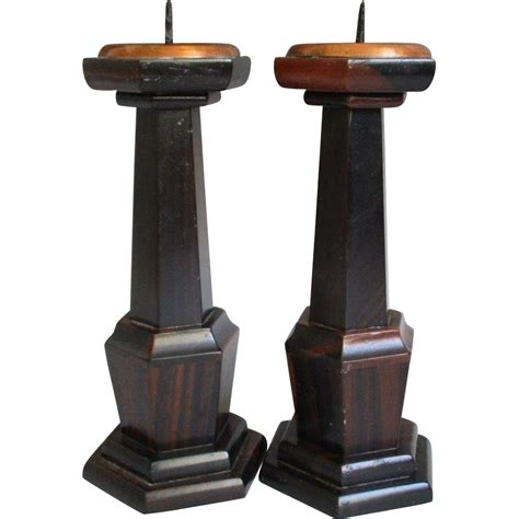 japanese pair vintage shokudai or candle holders of karaki