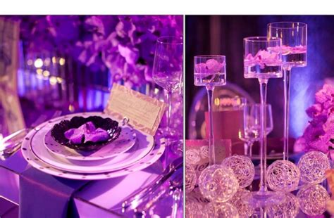 Glamourous purple wedding reception decor tablescape orchid wedding