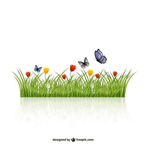 hojas de hierba hojas de hierba con mariposas descargar vectores gratis