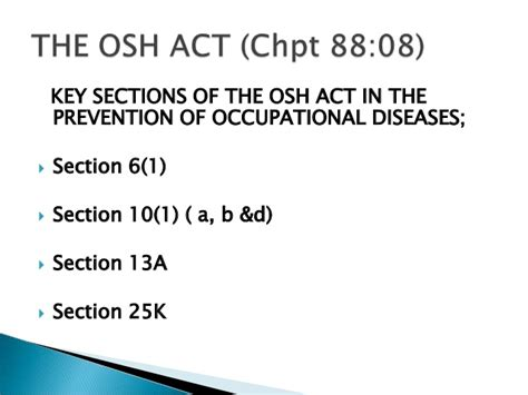 section 10 13a national occupational safety and health the prevention of