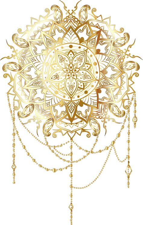 golden pattern png clipart gold intricate floral mandala no background